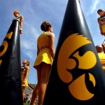 The Iowa Hawkeye Cheerleaders perform at the Hawks spring game April 17th in Iowa City. The annual practice and scrimage brought an estimated 30,000 fans to Kinnick stadium.
